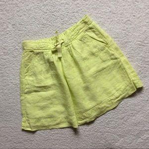 J. Crew Neon Yellow Boardwalk Linen Skirt